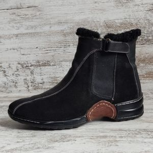 ⚅Sofft Leather Sherpa Trim Ankle Boots